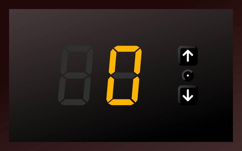 Free 7-segments indicator. Play with buttons