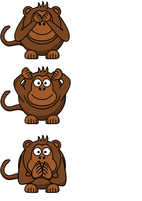 Free see/hear/speak no evil monkey
