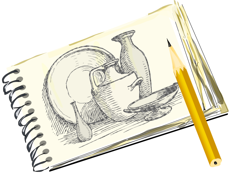 Free Clipart Sketchpad With Still Life Unfilled Eady