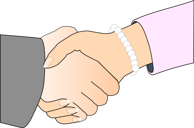 Free Handshake with Black Outline (white man and woman, freshwater pearl bracelet)