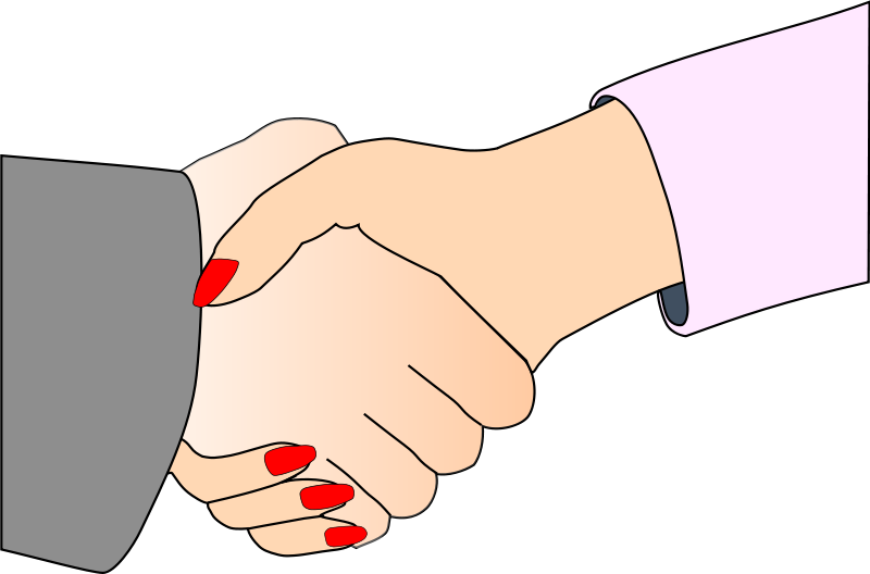 Free Clipart: Handshake with Black Outline (white man and woman) | palomaironique