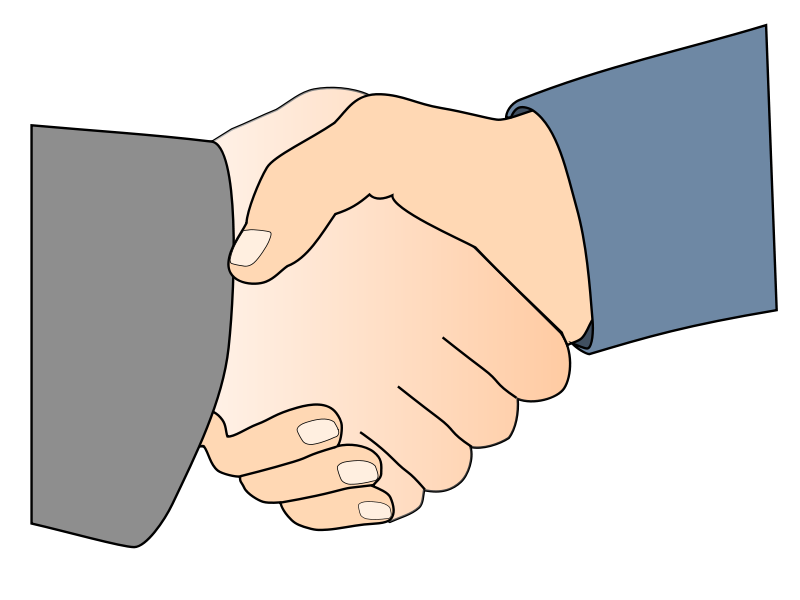Free Handshake with Black Outline (white man hands)