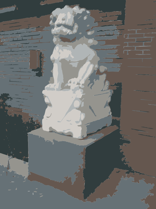 Free Chinese Guard Lion Statue outside AiWeiWei Studio
