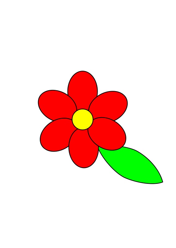 Free Flower six red petals black outline green leaf with upper and lower text