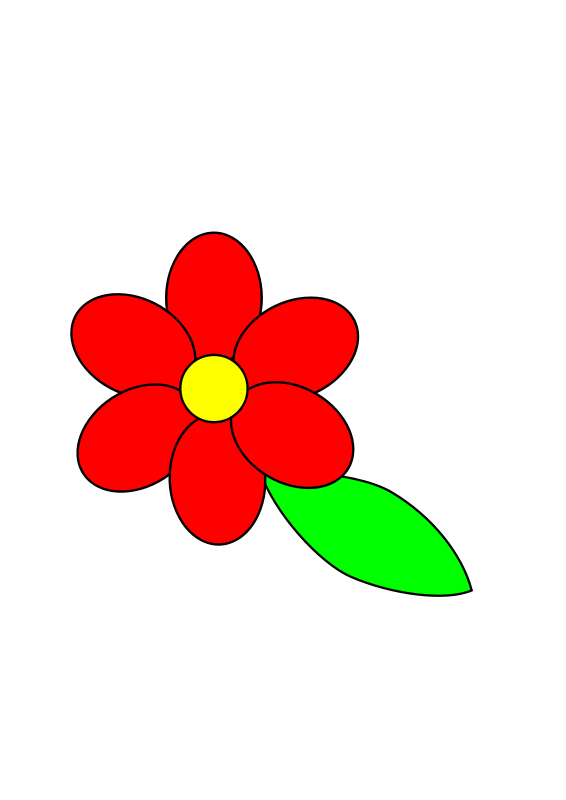 Free Flower six red petals black outline green leaf