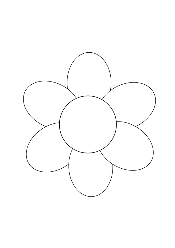 Free Flower six petals black outline with upper and lower text