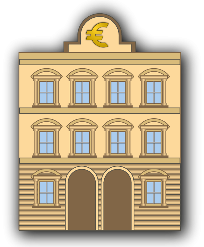 Free Bank building with euro sign