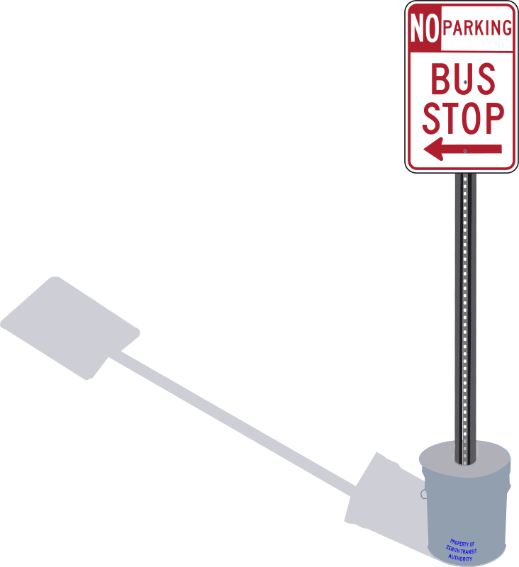 Free Bus Stop sign in cement pail with shadow
