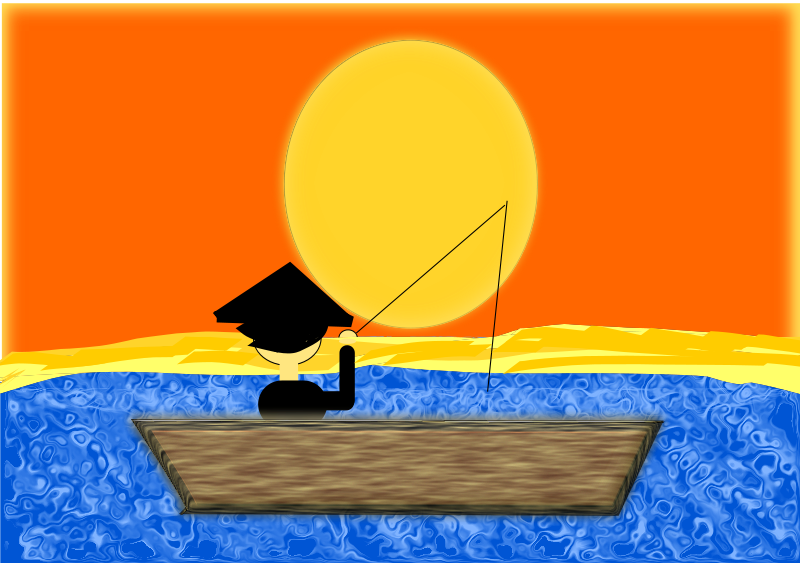Free Chinese Man in a Boat under a Sunset