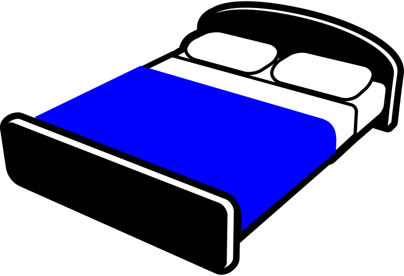 Free Bed with blue blanket