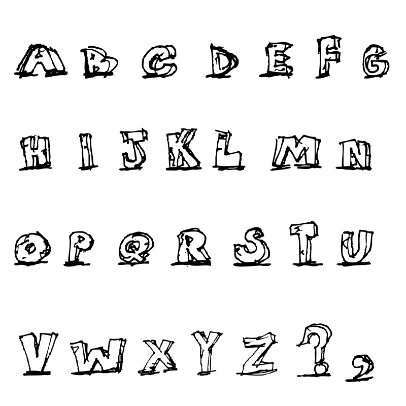 Free Hand Drawn Blocky Alphabet in Caps