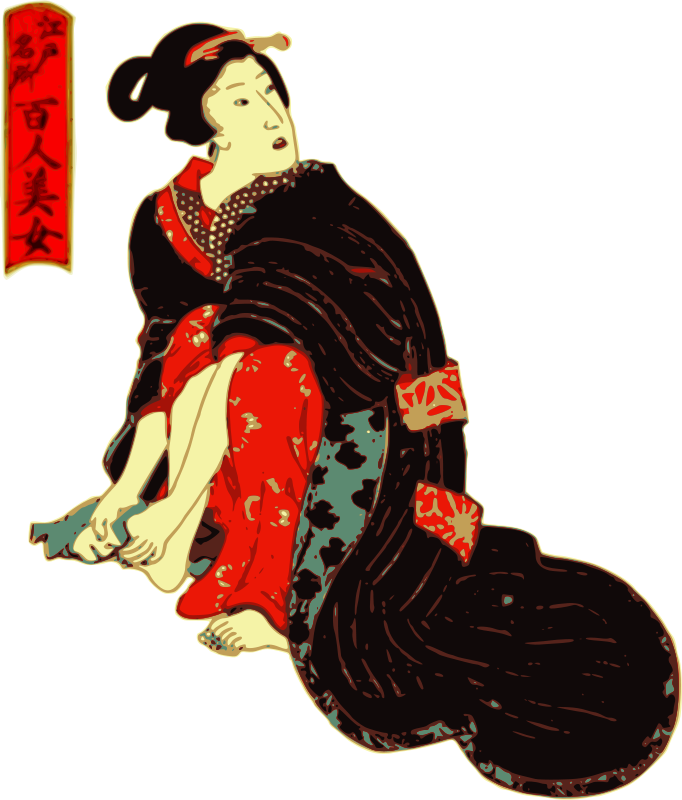 Free Woman in a Kimono cleans her feet