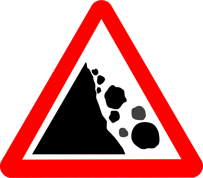 Free Roadsign Falling rocks
