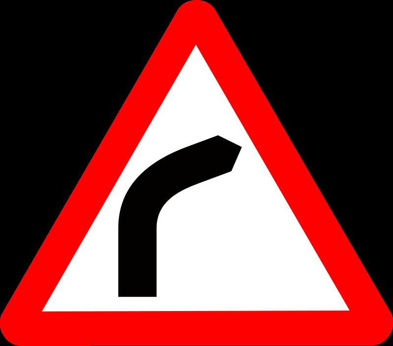 Free Roadsign Curve ahead