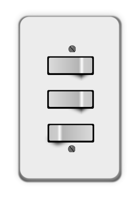 Free Clipart: Light switch, 3 switches (two off) | lumbricus