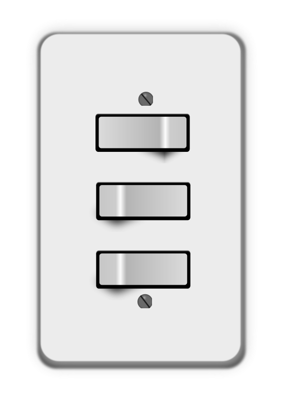 Free Clipart: Light switch, 3 switches (one off) | lumbricus