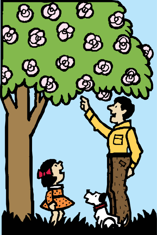 Free father and daughter under tree