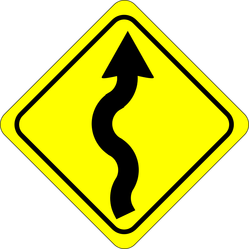 Free curves ahead sign