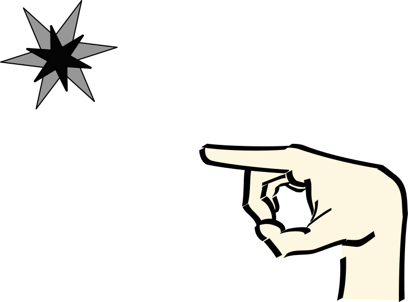 Free hand pointing at star 2