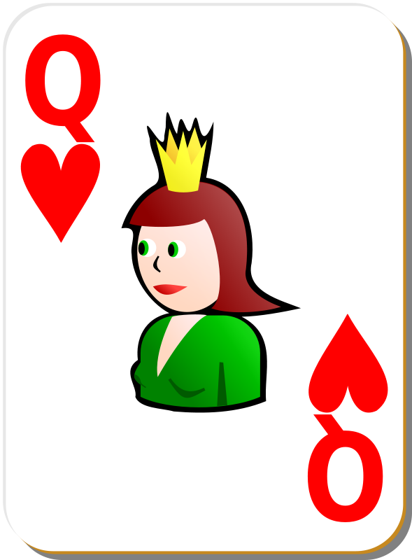 Free Clipart: White deck: Queen of hearts | nicubunu