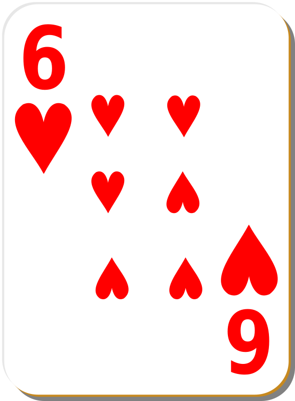 Free Clipart: White deck: 6 of hearts | nicubunu