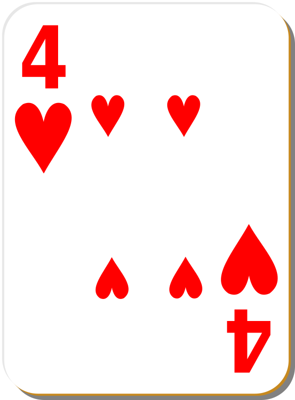 Free White deck: 4 of hearts