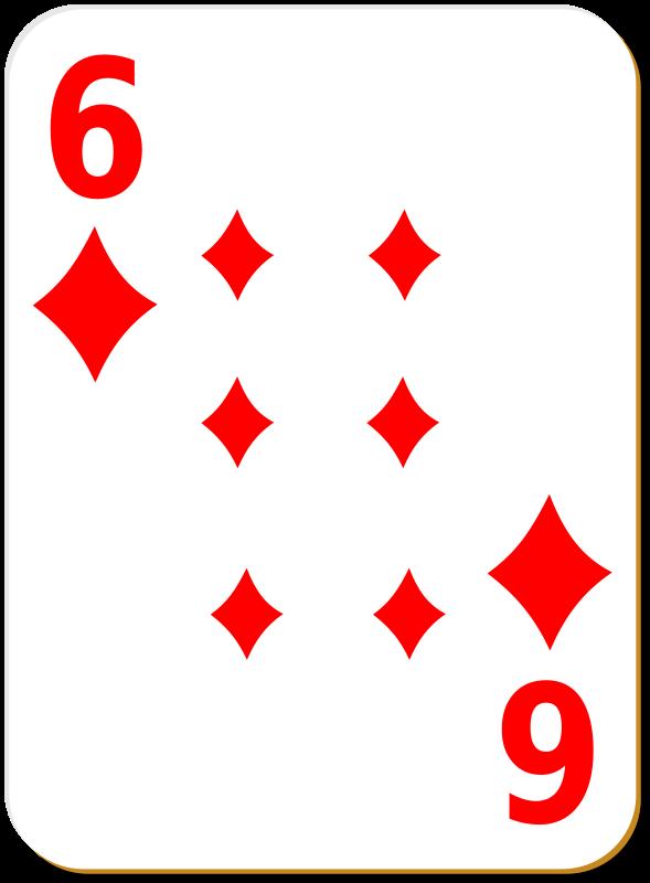 Free Clipart: White deck: 6 of diamonds | nicubunu