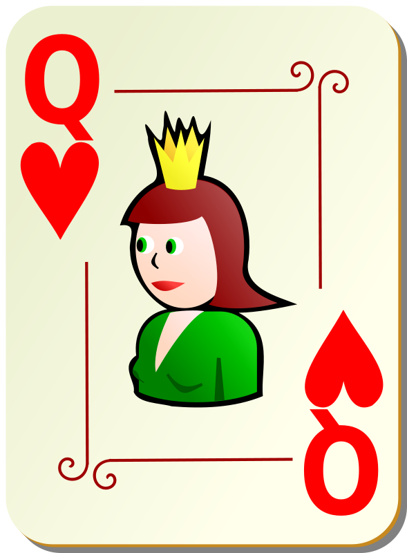 Free Clipart: Ornamental deck: Queen of hearts | nicubunu