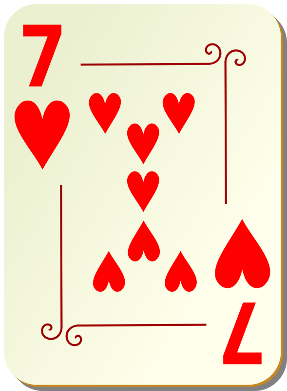 Free Clipart: Ornamental deck: 7 of hearts | nicubunu