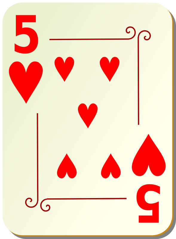 Free Ornamental deck: 5 of hearts
