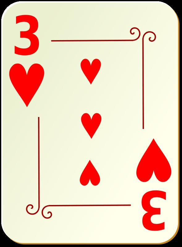 Free Clipart: Ornamental deck: 3 of hearts | nicubunu