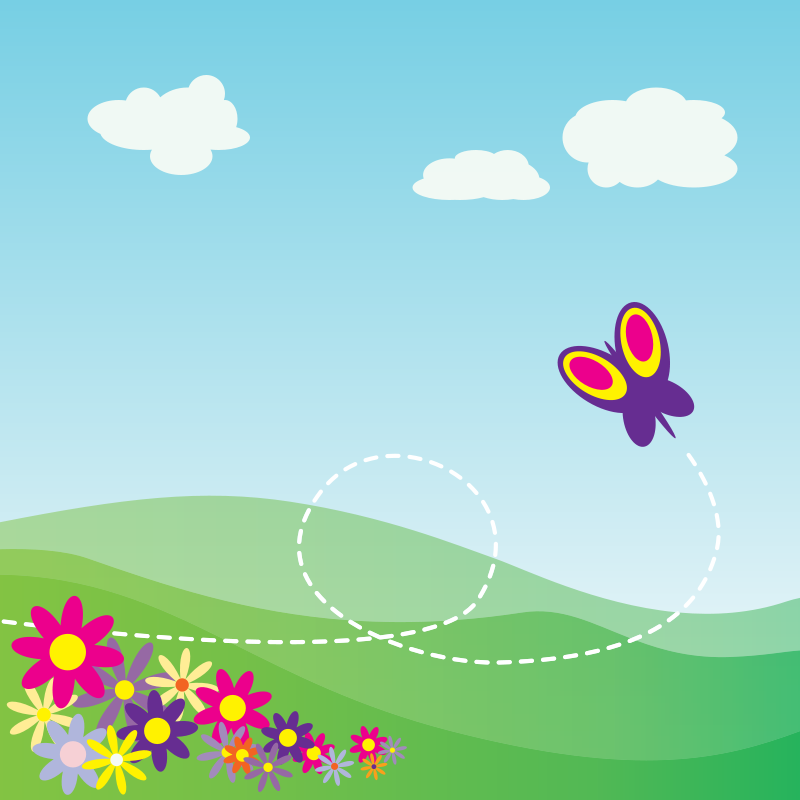 Free Clipart: Cartoon Hillside with Butterfly and Flowers | StudioFibonacci