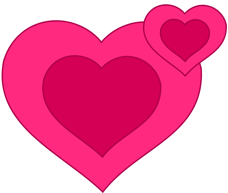 Free Two Pink Hearts Together