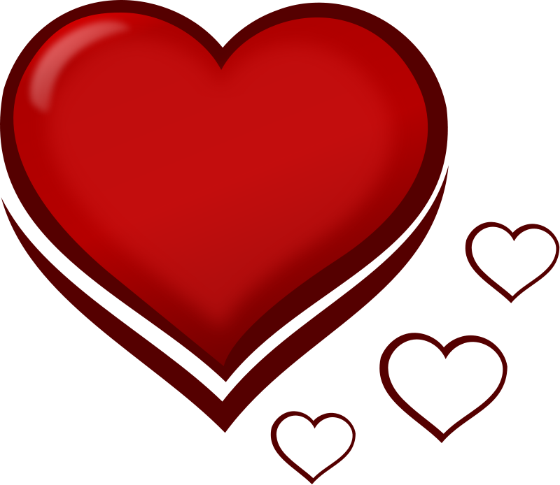 Free Red Stylised Heart with Smaller Hearts