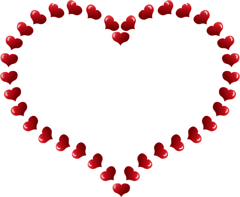 Free Red Heart Shaped Border with Little Hearts
