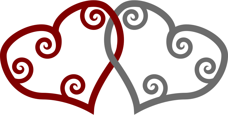 Free Red & Silver Maori Hearts Interlinked