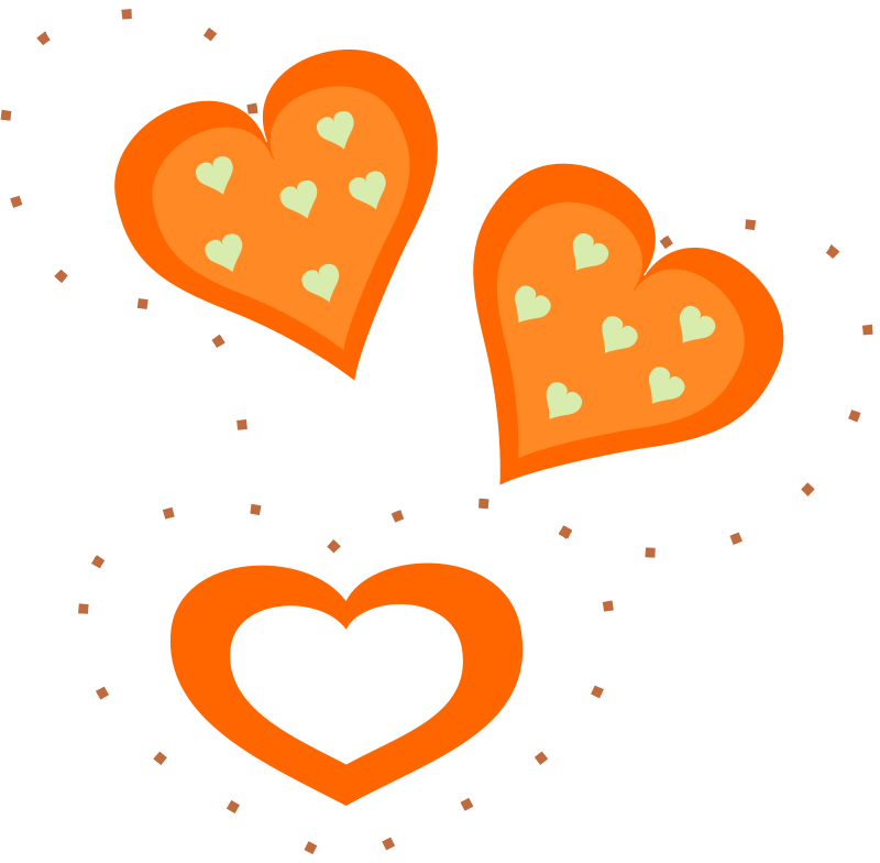 Free Valentine Orange Hearts
