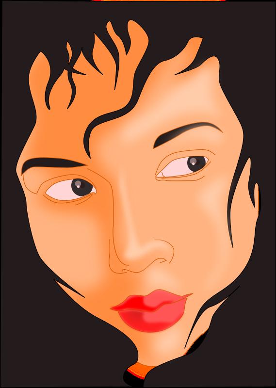 Free Girl's face in black frame