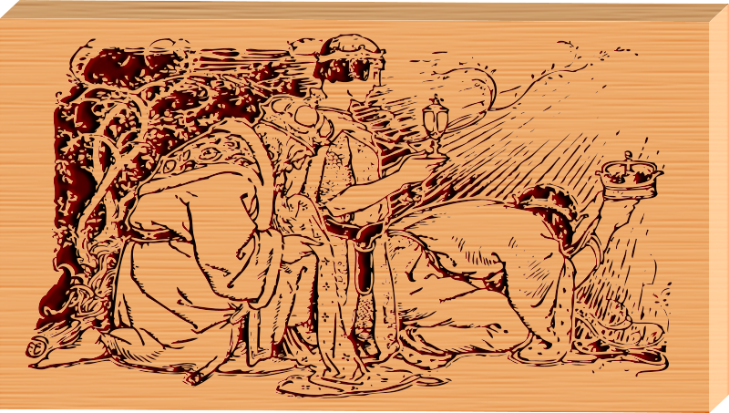 Free THREE KINGS ETCHED ON WOOD