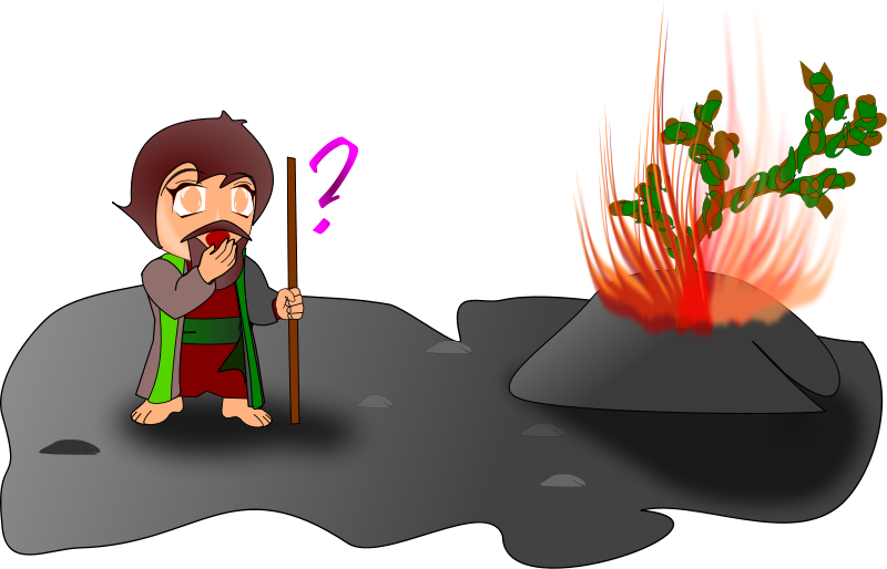 Free Clipart: Moses and the burning bush (chibi version) | wsnaccad