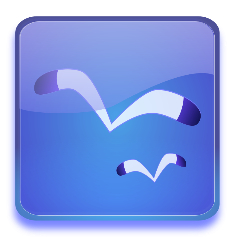 Free Aqua button with Seagulls