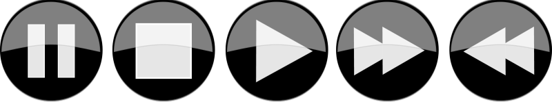 Free Glossy media player buttons - Inverted