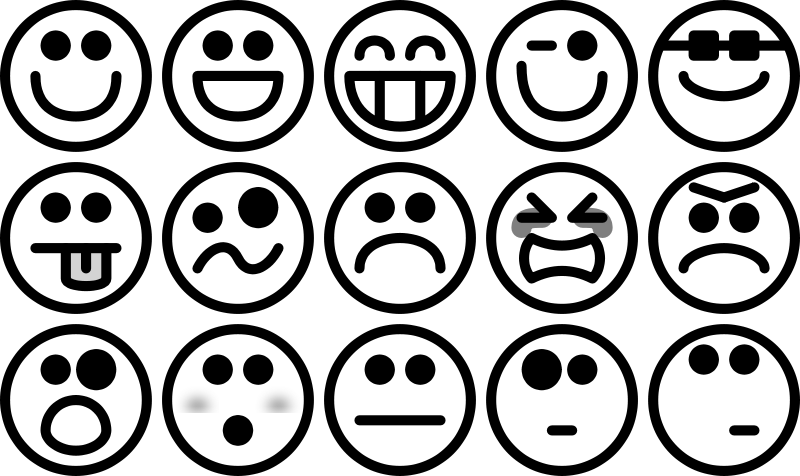 Free Greyscale Smiley Set