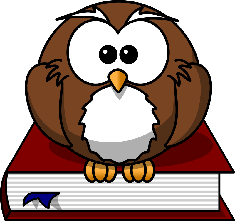 Free Cartoon owl sitting on a book
