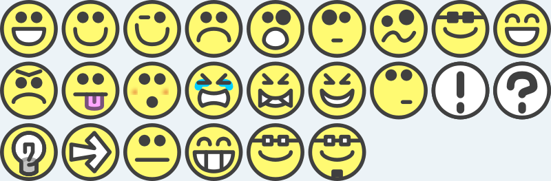 Free 24 flat grin smilies emotion icons emoticons for example for forums