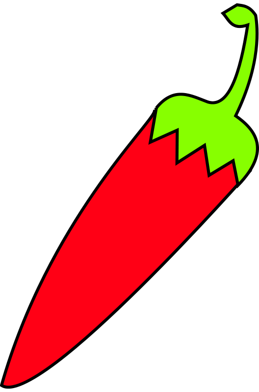 Free red chili with green tail