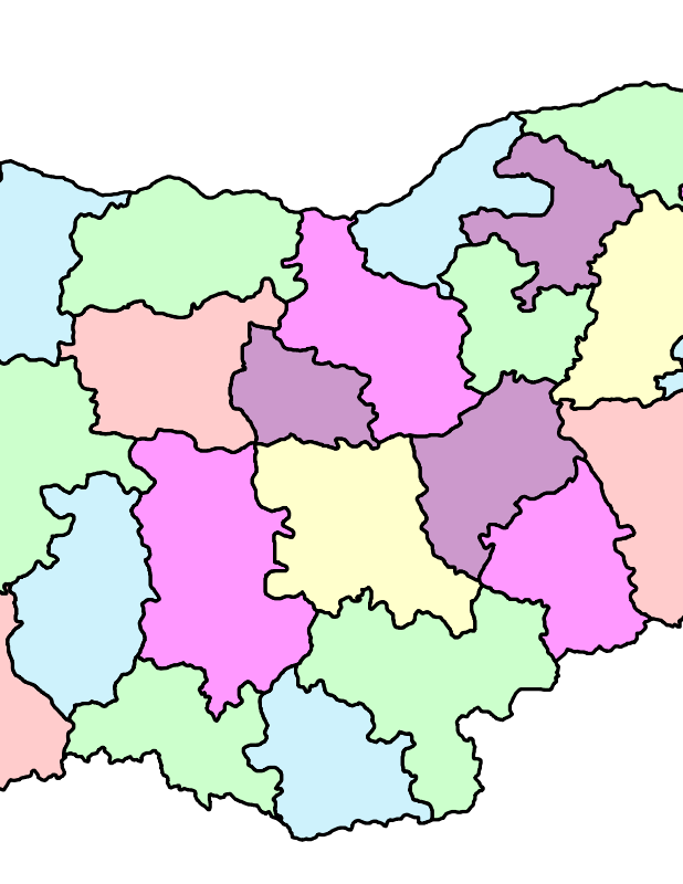 Free administrative map of Bulgaria