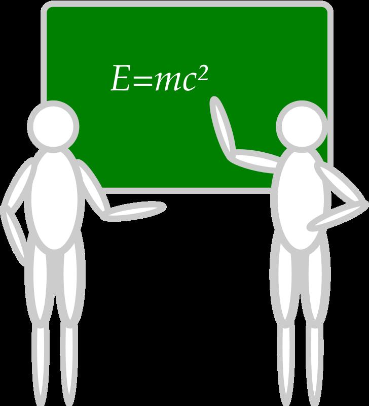 Free people near a blackboard