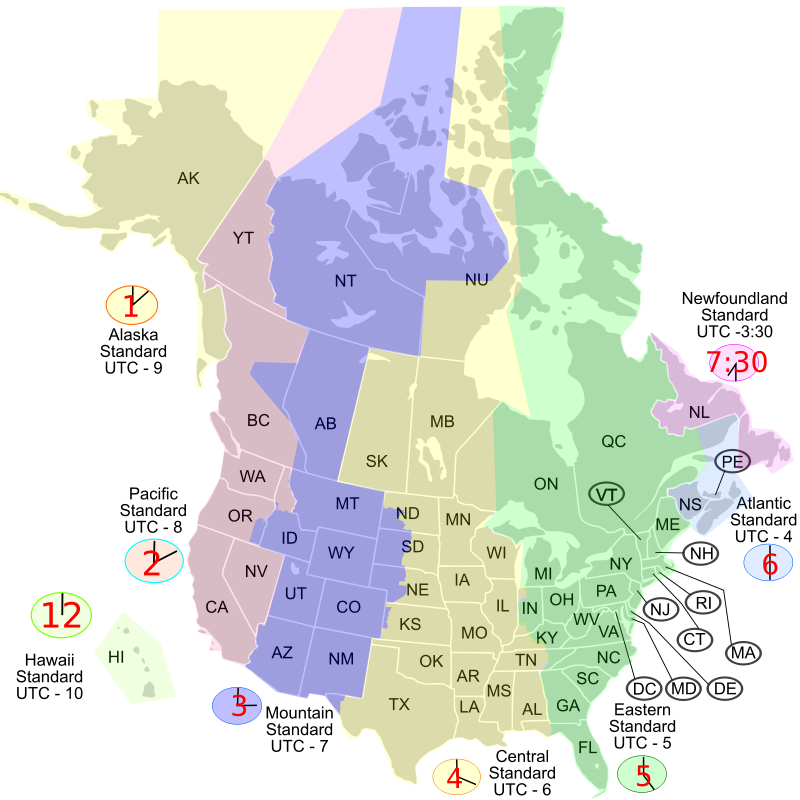 Free USA Canada time zone map