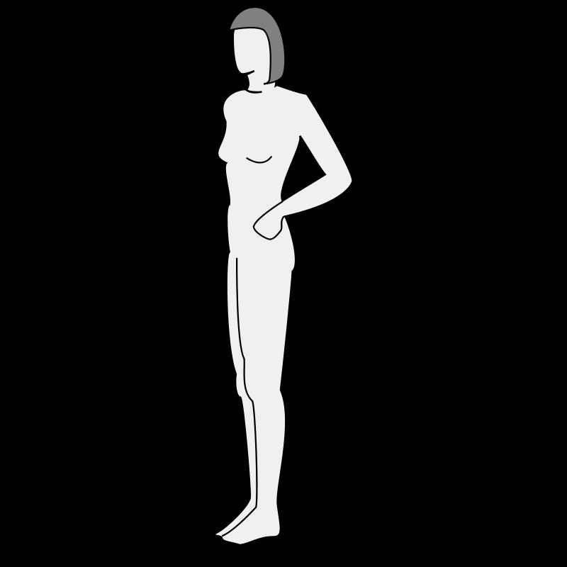 Free Female body silhouette - side
